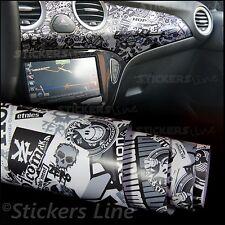 Pellicola adesiva STICKER BOMB bianco nero M5 cm 50x75 car wrapping auto moto