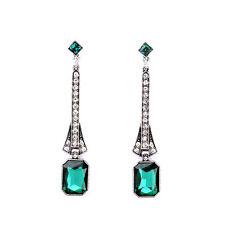 Exquiste Anthropologie Eva Evening Emerald Rhinestone Drop Earrings