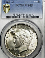 1934-D MS65 Peace Silver Dollar $1, PCGS Graded!