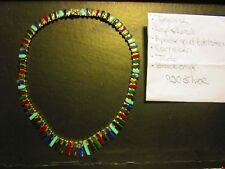 """Vtg Mexico 950 Silver Hinged Panel Link Necklace TAXCO 17"""" turquoise"""