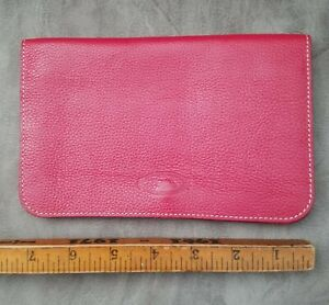 Tods Made in Italy Ruby Red Pebblegrain Leather Slim Card Passport Case Wallet