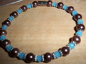 7.75 in BROWN Pearl & BLUE Crystal Bracelet MAGNETIC Clasp A-34 Quality Jewelry