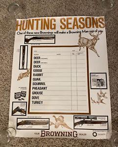 Vintage NOS Browning Arms Co. Shotguns Hunting Seasons Store Advertising Poster