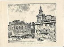 Stampa antica BOLOGNA Palazzo Comunale e Notari piazza Maggiore 1892 Old print