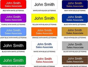 Custom 1 x 3 Employee Nametag Engraved with Magnetic, Pin or Clip Back 15 Colors