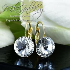 Gold Plated Earrings made with Crystals from Swarovski® - Clear - 12mm Rivoli