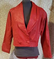 Vintage 80s Red Leather High Waisted Jacket Size Small