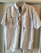 Drake Size M Men Waterfowl Systems Vented White Button Pockets Shirt Short Sleev