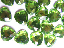 80 Lime Green 16 mm Love Heart Acrylic Rhinestone Gems Faceted Flatback Sew on