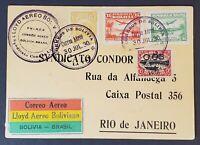 1930 Bolivia Rio de Janeiro Brazil Condor LTDA Air Mail Overprint Postcard Cover