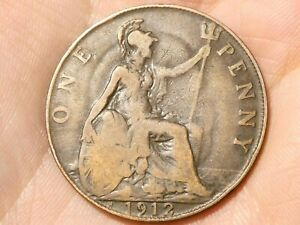 1912 British George V One Penny 1d Coin #SP33