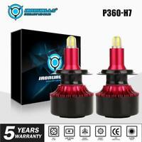 IRONWALLS 2X H7 LED Headlight Globe Car Bulbs Kit 180W 21600LM 6000K White Lamp