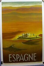 Affiche Ancienne  Lithographique Tourisme en ESPAGNE par DELPY entoilée BE