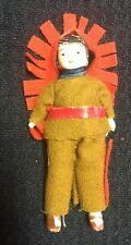 """Wonderful Antique Bisque Jointed 3 1/4"""" Indian Doll Japan? Germany?"""
