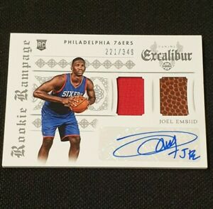 2014-15 Panini Excalibur Rookie Ball/Jersey Auto Joel Embiid 221/349 RC Card, SP