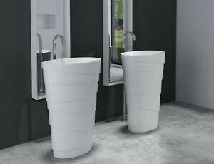 TomRo - Freistehendes Waschbecken aus Mineralguss weiß - 60 x 40 x 90 cm -