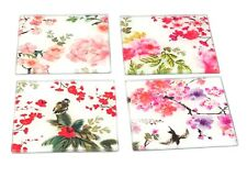 Glass Coasters Set of 4 Oriental Design Flower Glassware Kitchen Home Drinks Mat