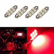 4 Super Red 42mm 578 LED 211-2 Bulbs Festoon 5050 Dome Map Cargo Light 4xC6