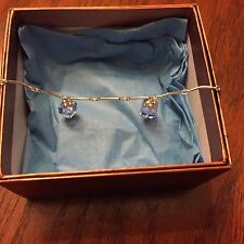 New Hand Crafted Bracelet Crystal Like Blue Dangling Ornaments, Silver Clasp, 7
