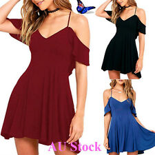 AU Women's Sling Off Shoulder Solid Dress Ladies Club Party Mini Skater Dress