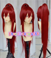 New Fairy Tail Erza Scarlet Dark Red Cosplay Party Wig w/ Ponytails +1 ponytail