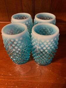 VVintage Set of 4 Fenton Blue Opalescent Hobnail Drinking Glasses