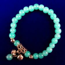 6mm Blue Jade Round ball Stretchy bracelet 7.5 inch A70678