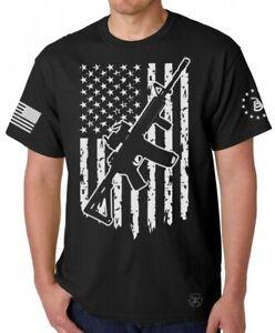 AR-15 American Flag T-SHIRT ~ Gun Rights Tee ~ 2nd Amendment Don't Tread