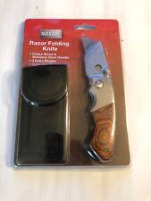 New! Maxam® Razor Folding Knife + 3 extra blades, nylon pouch and belt clip