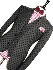 BNWT Homme d&g dolce & gabbana gris pois 3 Pièce Costume 42R W36 x L32