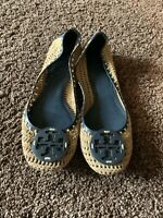 Tory Burch Rory Knit Crochet Flats Woven Leather Logo Brown Sz 7 M