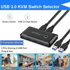 USB 3.0 KVM Switch Selector Switcher 5Gbps 4 Port for Printer Keyboard Scanner