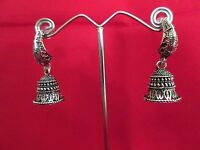 Indian Ethnic Earrings Bollywood Silver Tone Oxidized Jhumki Fashion Jewelry
