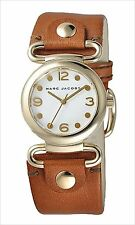 Marc Jacobs Molly White Dial Gold Tone Brown Leather Women's Watch MBM8521 SD