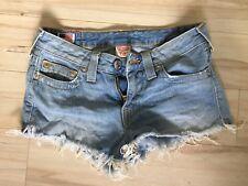 True Religion Light Distressed Wash DanaCut Off Jean Shorts Size 27
