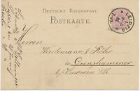 """DT.REICH """"LEIPZIG / 1."""" K1 a. 5 Pfennig violett Pra.-GA-Postkarte n GRENZHAMMER"""