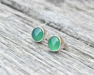 Handmade 925 Sterling Silver Agate Gemstone Circle Stud Earrings (Design 2)