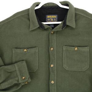 WOOLRICH Vtg Olive Green FLEECE L/S Jacshirt Button Shirt JACKET MEN'S 2XL