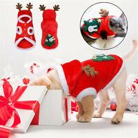 CHRISTMAS SANTA PET DOG CLOTHES WARM COAT HOODIE PUPPY JUMPSUIT VEST COSTUME