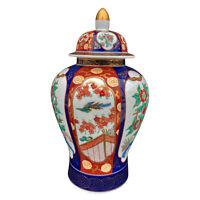 Vintage Japanese Porcelain Imperial Birds of Paradise Painted Urn w/ Lid