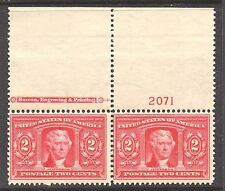 #324 VF MNH OG-2¢ JEFFERSON WIDE TOP IMPRINT PL# PAIR!! (REM #324-692)