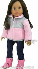 "Pink/Gray Jacket + Jeggings Outfit for 18"" American Girl Doll Clothes"