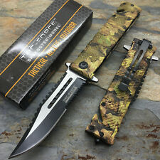 TAC-FORCE Spring Assisted Jungle Camo Tactical Hunting Saw back Pocket Knife
