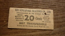 OLD PUBLIC TRANSPORT BUS TICKET, 1950s SINGAPORE TRACTION Co 20c TICKET
