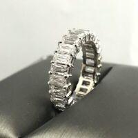 3.50Ct Emerald-Cut VVS2 Diamond Eternity Engagement Band 14k White Gold Finish