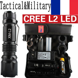 80000lm Police de poche lampe CREE XML L2 LED torches de poche militaires 18650