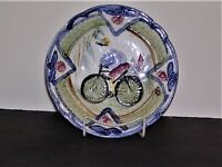 "Glossy Finish Majolica 7 1/2"" Plate Boy Riding Bicycle Green Blue Muted Red"