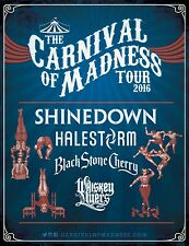 "SHINEDOWN/HALESTORM ""CARNIVAL OF MADNESS TOUR 2016"" USA CONCERT POSTER-Hard Rock"