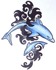 1 x TRIBAL BLUE DOLPHINS TEMPORARY TATTOOS = TY0188
