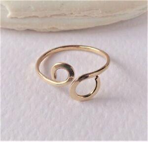 14K Solid Gold Toe,Midi,Knuckle Flattened Swirl Ring